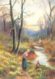 Postcard Art, Picking Primroses by the Stream by Ernest Walbourn (1897) #608