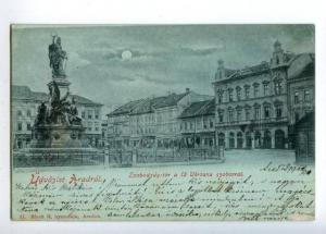 152110 UDVOZLET Romania Greeting ARADROL ARAD Night Square OLD