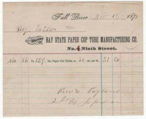 1871 Billhead, Bay State Paper Cop Tube Manufacturing Co., Fall River, MA