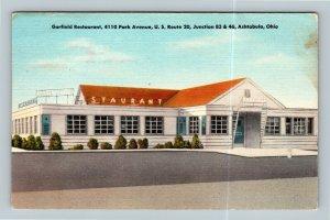 Ashtabula OH, The Garfield Restaurant, Linen Ohio Postcard