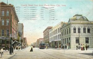 Sioux City Iowa~East Fouth Street~Dunlap Optician~Beck Jewelry~Trolley~1909 PC