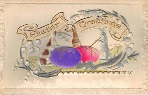 Fantasy Easter~Rabbits Blow Gold on Pink Purple Eggs~Lily Valley~Emb~Airbrushed