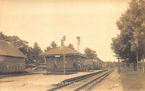Brooks ME Railroad Station Train Depot Real Photo Postcard