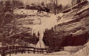Madison Indiana~Snowcicles Form on Bluffs @ Hanging Rock~Winter Snow c1910