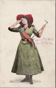 Woman Salute Saluting American USA Flag Series c1910 Postcard F36