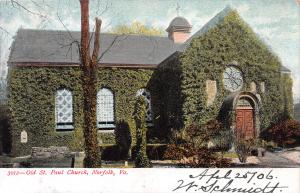 Old St. Paul Church, Norfolk, Virginia, Early Postcard, Used in 1906