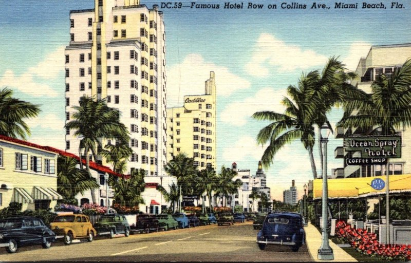 Florida Miami Beach Famous Hotel Row On Collins Avenue Curteich