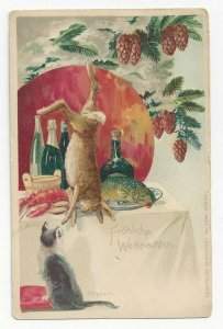 AS: CHRISTMAS, 1900-10s; Banquet table, Rabbit, Cat, Seafood & Wine