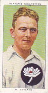 Player Vintage Cigarette Card Cricketers 1938 No 16 M Leyland Yorkshire & Eng...