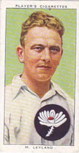 Player Vintage Cigarette Card Cricketers 1938 No 16 M Leyland Yorkshire & Eng...