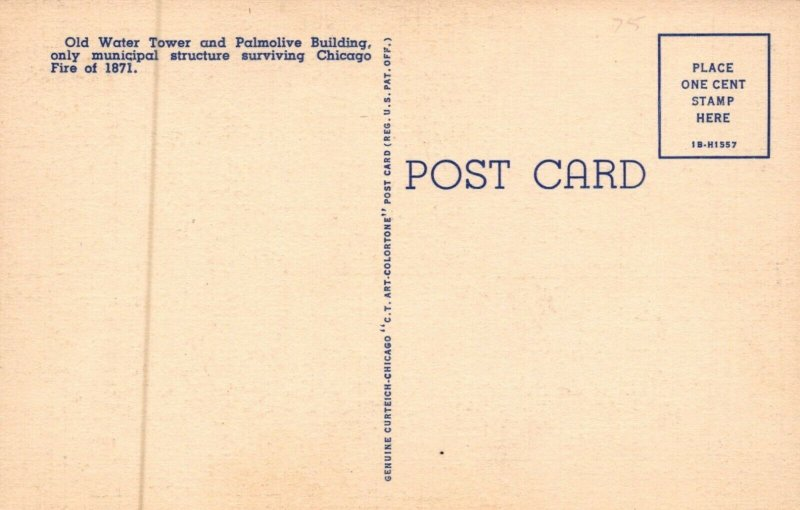 Old Water Tower And Palmolive Building Chicago Illinois Vintage Linen Post Card