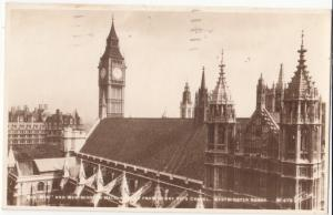 Big Ben and Westminster Hall, 1932 used Real Photograph Postcard RPPC