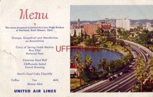 1951 MENU - UNITED AIR LINES, PORTLAND FLIGHT KITCHEN, ERNST MAURER, CHEF