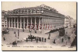 Old Postcard Bourdeaux Grand Theater Tram