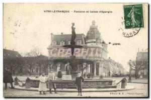 Old Postcard Vitry le Francois Fontaine Bank and Caisse d & # 39Epargne