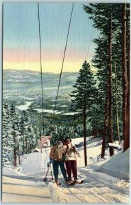 Vintage New Mexico Postcard SKIING IN NEW MEXICO Chair Lift Scene Linen c1940s