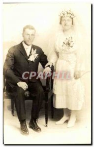 PHOTO CARD Fantasy - Couple - marriage - wedding - bride - groom - Old Postcard
