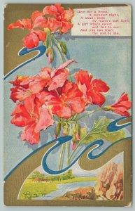 Flowers Greetings~Bright Pink Lilies~Creek Portal~Gold Leaf~c1910 Postcard