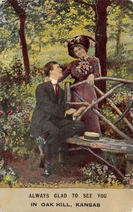 Always Glad to See You in Oak Hill Kansas~Victorian Couple~Rustic Bench~1910