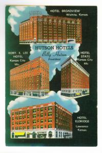 Hutson Hotels, Billy Hutson: President, unused Linen Postcard
