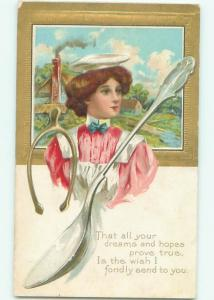 Divided-Back PRETTY WOMAN Risque Interest Postcard AA8332