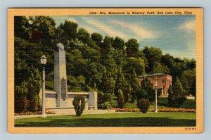 Salt Lake City UT, War Memorials In Memory Park, Linen Utah Postcard