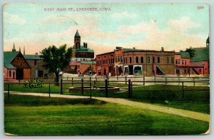 Cherokee Iowa Courthouse in Distance~RR Xing~TRain Depot Park~Fountain c1910 PC
