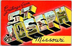1940s ST. JOSEPH Missouri Large Letter Postcard Colorful Curteich Linen
