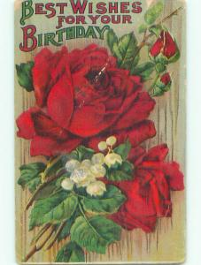 Pre-Linen LILY OF THE VALLEY AND RED ROSE FLOWERS k4519