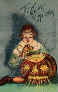 c.1910 The Spirit of Halloween Jack'o Lantern Candle P164