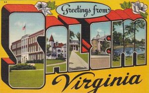 Greetings From Salem Virginia Large Letter Linen