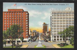 Main Street Looking North from State Capitol Columbia South Carolina Used c1947