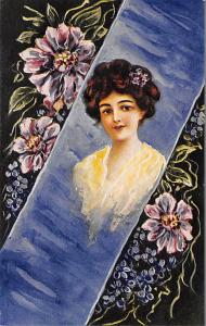 Woman with brunette hair and flowers Artist C. Ryan Unused
