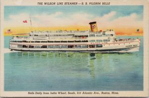 SS Pilgrim Belle Wilson Line Steamer Boston MA Unused Linen Postcard F4