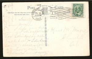 Postmarked 1907 Toronto Canada LOVE'S Thermometer Warmer Living Picture Postcard