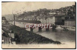 Postcard Old Lyon and St George Bridges Tilsit