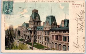 MONTREAL Quebec Canada Postcard City Hall Building, Street View w/ 1905 Cancel