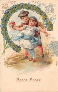 us7437 bonne annee greetings happy new year france embossed clover