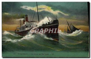 Postcard Old Ship Ship A hit pitching