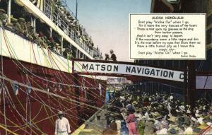 hawaii, HONOLULU, Steamer Matson Navigation Company, Song Berton Braley (1910s)