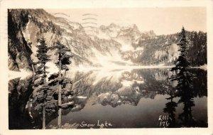 LPS58 Snow Lake Washington Lake and Mountain View Postcard RPPC