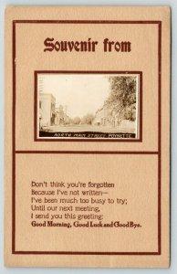 Poynette Wisconsin~North Main Street Stores~Mini RPPC~Poem~1913 Postcard