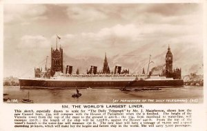 Queen Mary Daily Telegraph Cunard Line Ship Writing on back