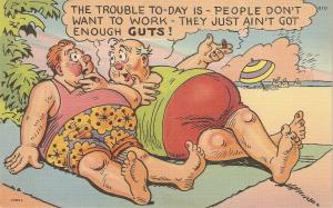 Fat couple on beach. The trouble toay is... Humorous American linen postcard
