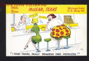 MCLEAN TEXAS ROUTE 66 RESTAURANT COUNTER VINTAGE ADVERTISING POSTCARD