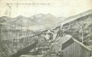 1909 Summit Montana Railroad Freight Train Postcard Northern 11146