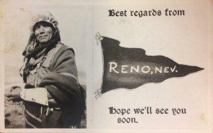 RPPC Native American Indian RENO Nevada Pennant Greetings 1944 Vintage Postcard