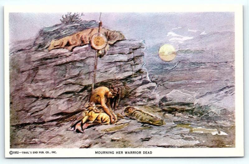 Postcard A/S 1952 Trail's End Artist Charles M Russell Mourning Her Warrior Dead