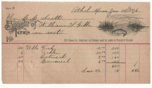 1896 Billhead, William H. Gibbs, Athol. Massachusetts