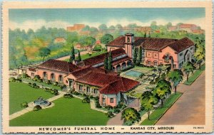 Kansas City, Missouri Postcard NEWCOMER'S FUNERAL HOME Mortuary Linen 1937